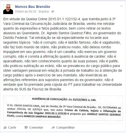 Professor Marcos Bau criticou Agnelo na internet