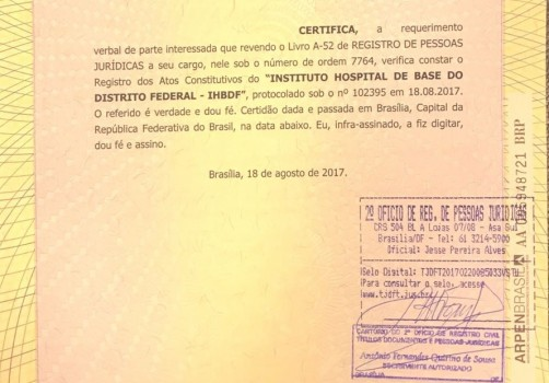 IHBDF certidão cartório