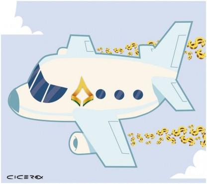 Ilustração avião CLDF - Câmara gasta com viagem de distritais a Boston e Nova Iorque