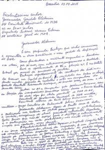 Carta com pedido de desfiliação de Abadia do PSDB, ao presidente nacional, Geraldo Alckmin