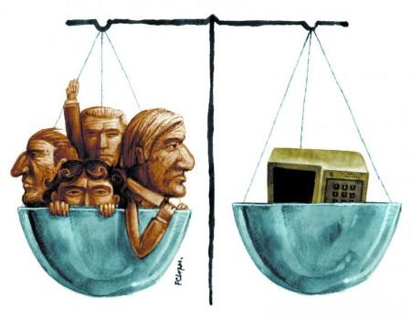 políticos ficha suja num prato da balança. No outro, uma urna eletrônica.