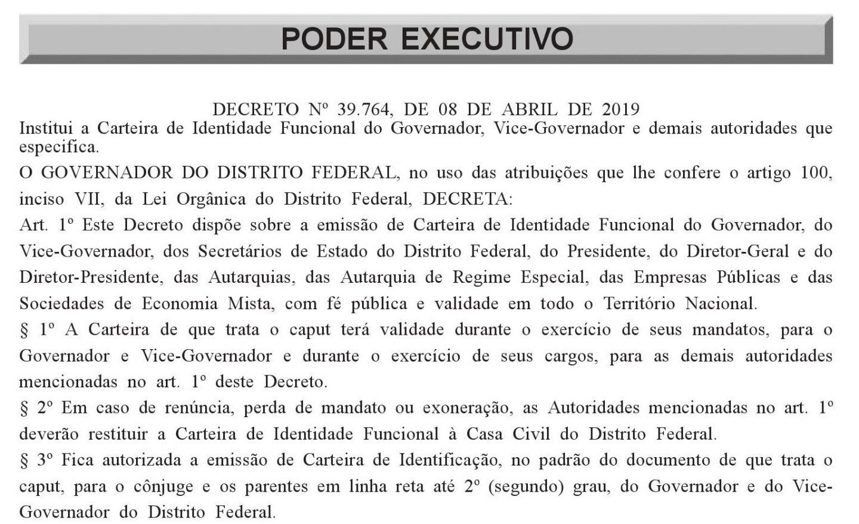 Decreto identidade funcional Ibaneis