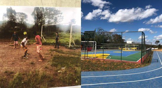 Quadra de esporte em escola pública do Gama (antes e depois da obra)