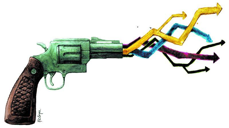 Revólver atira setas com as cores amarelo, azul, verde e vermelho.
