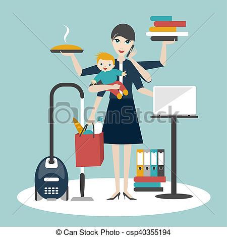 multitarea-woman-madre-mujer-de-dibujos_csp40355194