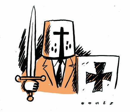 Homem encapuzado com espada e escudo