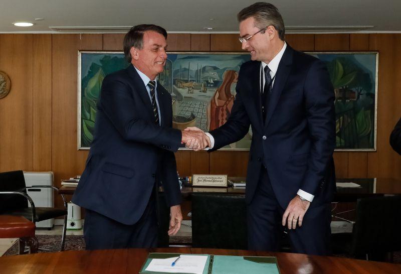 . Presidente da Republica Jair Bolsonaro, durante assinatura do Termo de Posse do senhor Rolando Alexandre de Souza, Diretor-Geral da Policia Federal.