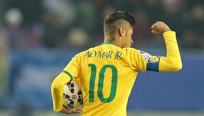 Dos 53 gols de Neymar pela Seleção, 8 foram contra seleções campeãs mundiais. Crédito: Mowa Press