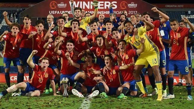 Campeã da Euro-2017 neste ano, a Espanha tinha cinco jogadores do Real Madrid. Foto: UEFA