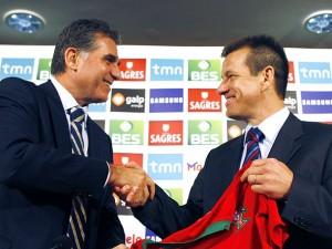 Carlos Queiroz e Dunga antes do amistoso no Gama: Brasil goleou Portugal por 6 x 2 em 2008