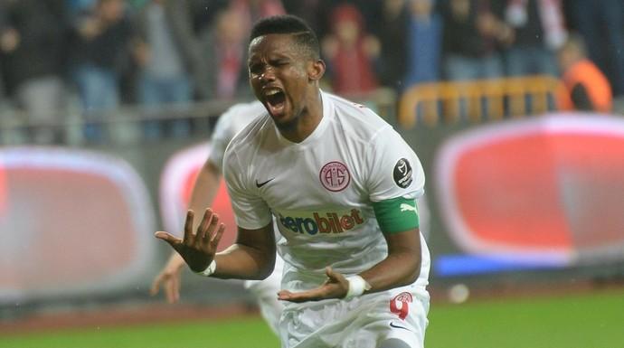 Antalyaspor, da Turquia, é o último clube de Samuel Eto'o. Foto: AFP