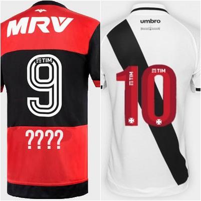 Camisas 9 e 10 Nove do Flamengo está sem dono. A 10 do Vasco também  Procura-se dono para a camisa 9 do Flamengo e a 10 do Vasco 3c1a7aaed89e2