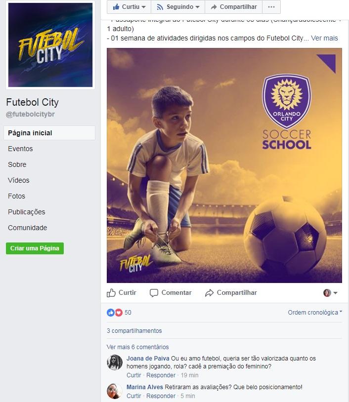 Comentário reivindicando por igualdade no evento de futebol, em Brasília / Reprodução/Facebook