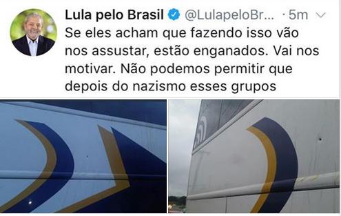 Lula chama de nazismo os atentados contra sua caravana
