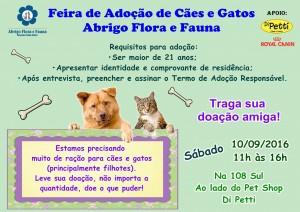 cartaz da feira de adoção do abrigo flora e fauna-bicho
