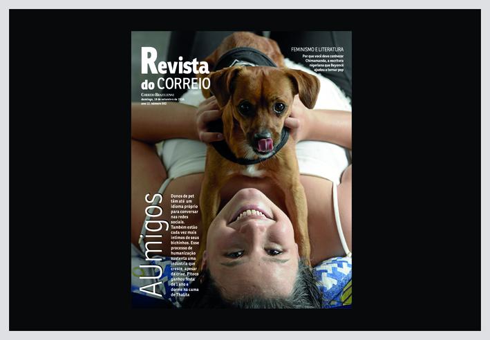 imagem mostra a capa da Revista do Correio com uma foto de uma menina deitada em uma cama com seu cãozinho.matéria sobre animais