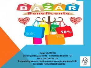 Cartaz do bazar beneficiente com renda em prol da SHB-bicho