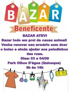 Cartaz do bazar beneficiente da Atevi-Feiras de animais