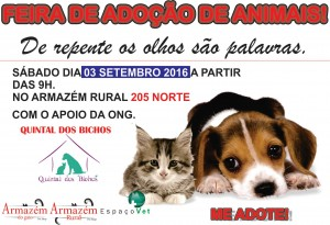 cartaz da feira de adoção do Armazém Rural-Feiras de animais