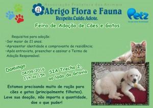 Cartaz da feira de adoção do Abrigo Flora e Fauna-Feiras de animais