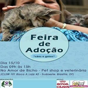 imagem mostra cartaz deimagem mostra cartaz de feira de adoção de bichos