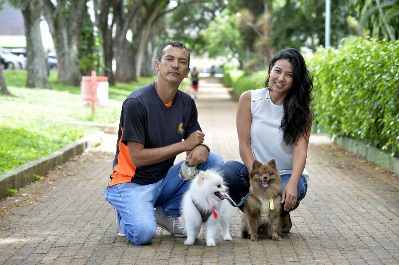 Imagem mostra adestrador e uma personagem com seus cãezinhos. Adestramento.