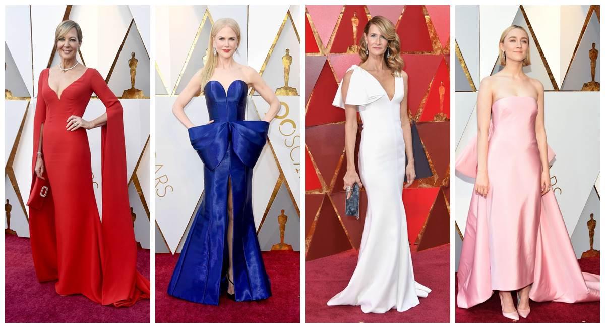 Vários tons de vestidos coloriram o tapete vermelho do Oscar