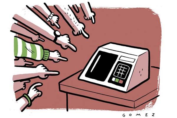 Crédito: Caio Gomez/CB/D.A Press. Dedos apontam para urna eletrônica.