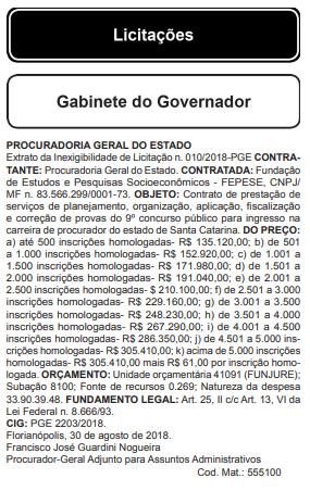 Foto: Reprodução/Diário Oficial/SC