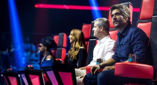 Carlinhos Brown, Ivete Sangalo, Victor e Leo no reality show The voice kids