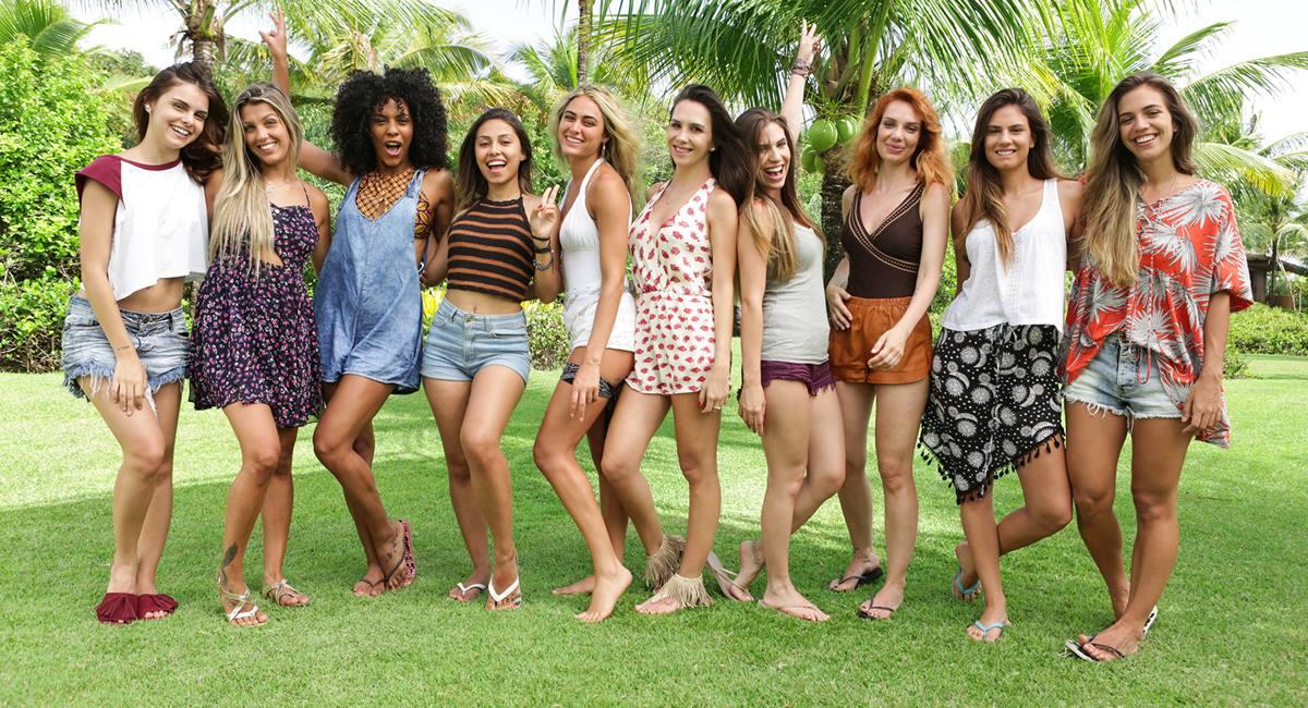 Crédito: MTV/Divulgação. Mia Ferrero e o restante do elenco feminino de Are you the one? Brasil