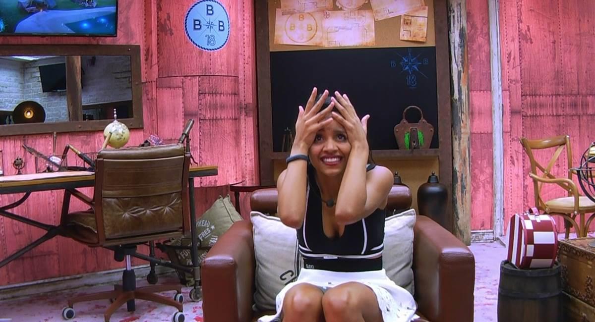 Gleice em como a gente gostaria de estar em casa na hora do resultado de um paredão do BBB 18! Crédito: TV Globo/Reprodução