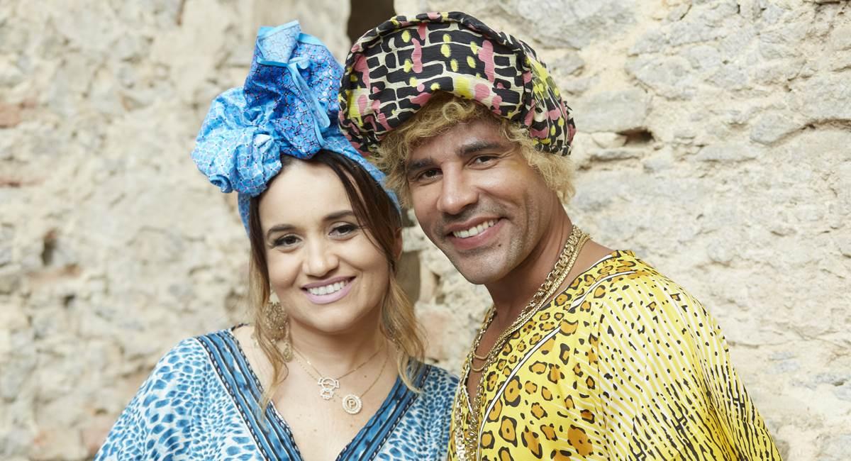 Pamela (Isabelle Marques) e Jefinho (Rodrigo Sant'Anna). Crédito: Guto Costa/Divulgação Multishow
