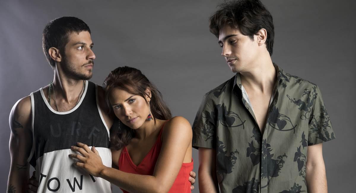 Ícaro (Chay Suede), Rosa (Leticia Colin) e Valentim (Danilo Mesquita). Crédito: TV Globo/Divulgação