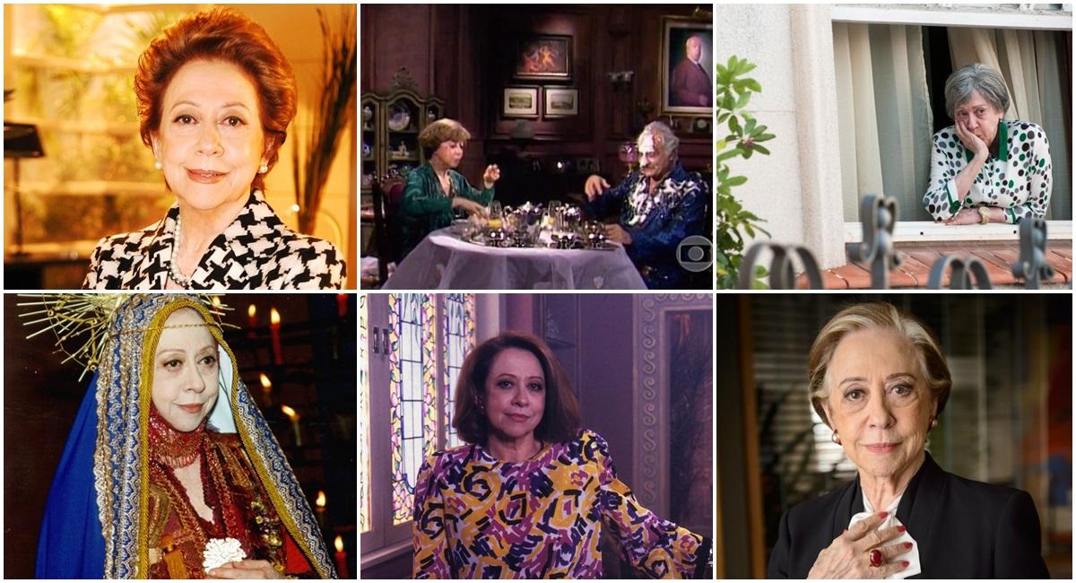 Mosaico com seis papéis interpretados pela atriz Fernanda Montenegro na televisão