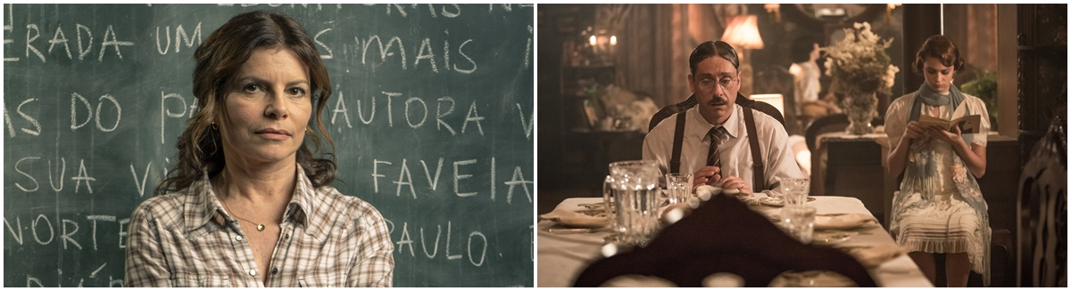 Debora Bloch em cena de Segunda chamada e Alexandre Nero em Filhos da pátria