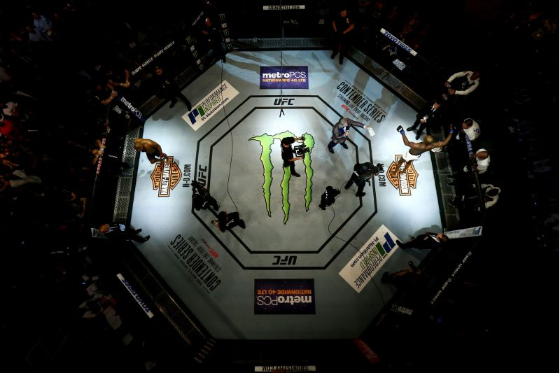 ANAHEIM, CA - JULY 29: An overhead view of the Octagon as Jon Jones is introduced prior to his light heavyweight championship bout against Daniel Cormier during the UFC 214 event at Honda Center on July 29, 2017 in Anaheim, California. Sean M. Haffey/Getty Images/AFP== FOR NEWSPAPERS, INTERNET, TELCOS & TELEVISION USE ONLY ==