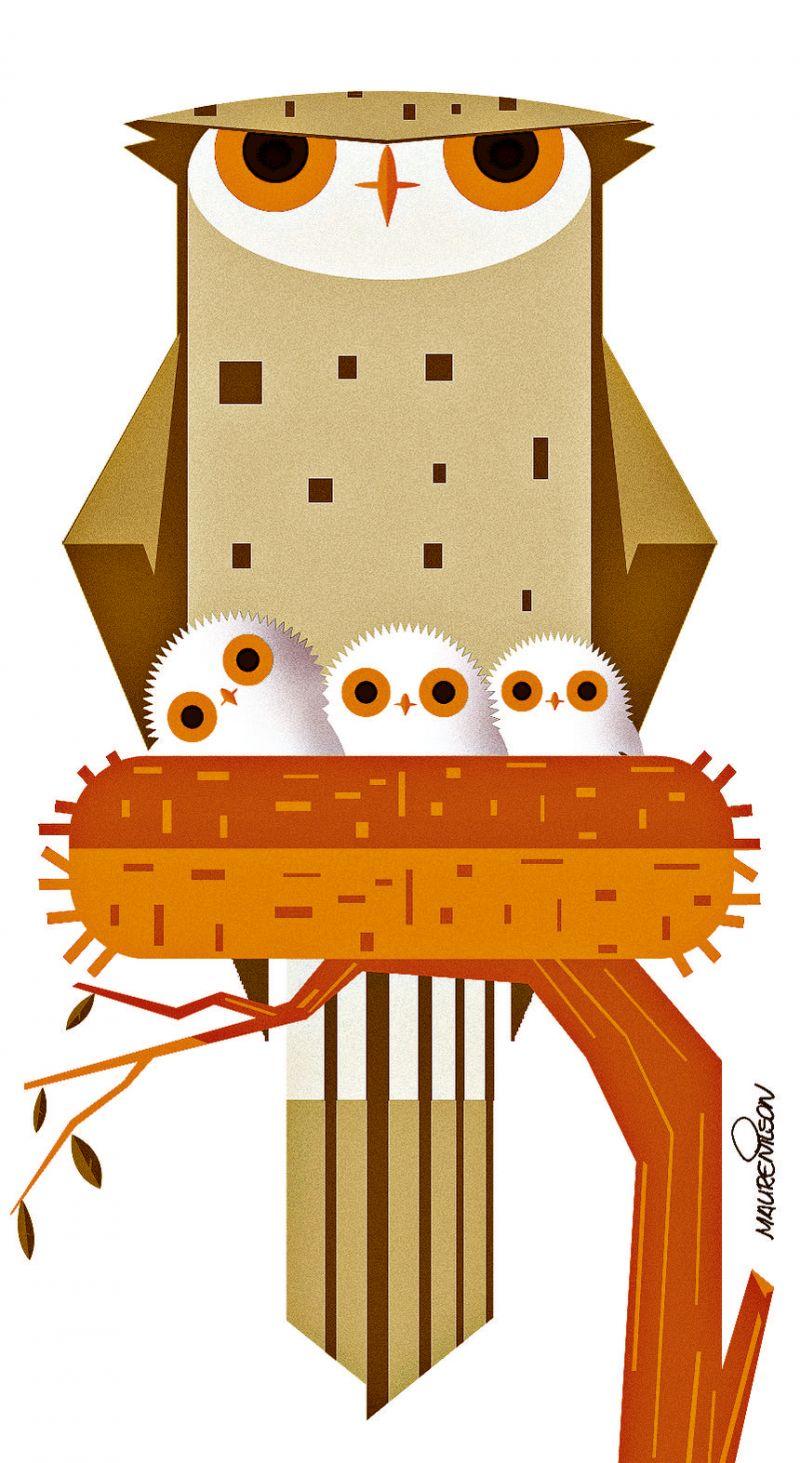 Crédito: Maurenilson Freire/CB/D.A Press. Coruja e seus filhotes no ninho.