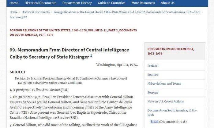 Documento da CIA diz que Geisel autorizou execuções na ditadura - Reprodução (oglobo.globo.com).