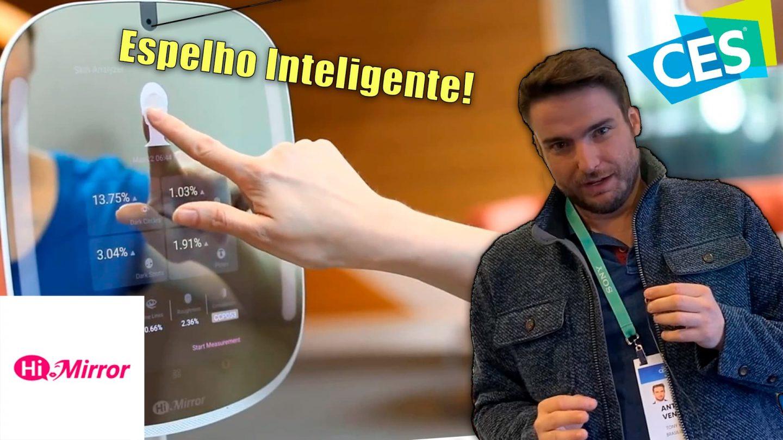 Tony Ventura está na feira de tecnologia ces em las vegas espelho inteligente hi-Mirror