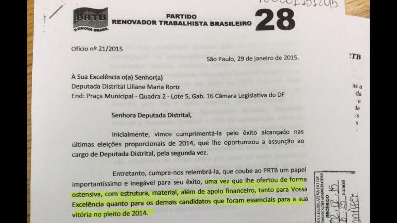 2015. Crédito: Reprodução. Brasil. Brasília - DF. Ofício do presidente do PRTB, Levy Fidelix, para a deputada Liliane Roriz.