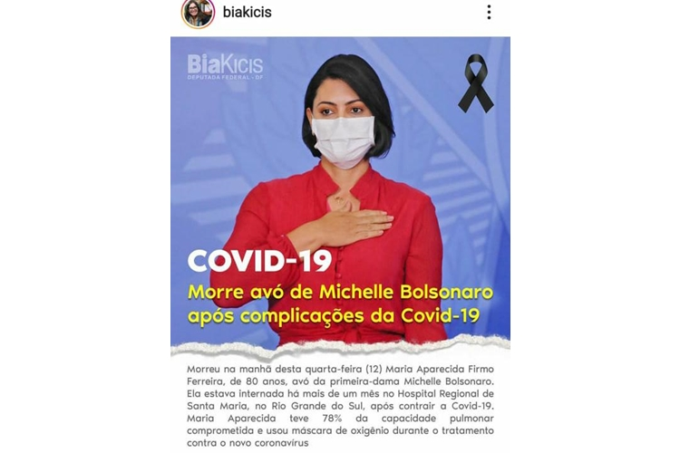 Bia kicis lamenta morte de avó de Michelle Bolsonaro