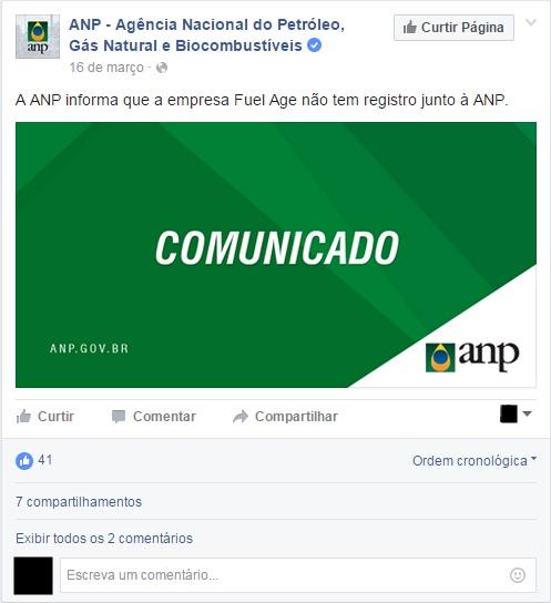 Comunicado da ANP na página do Facebook