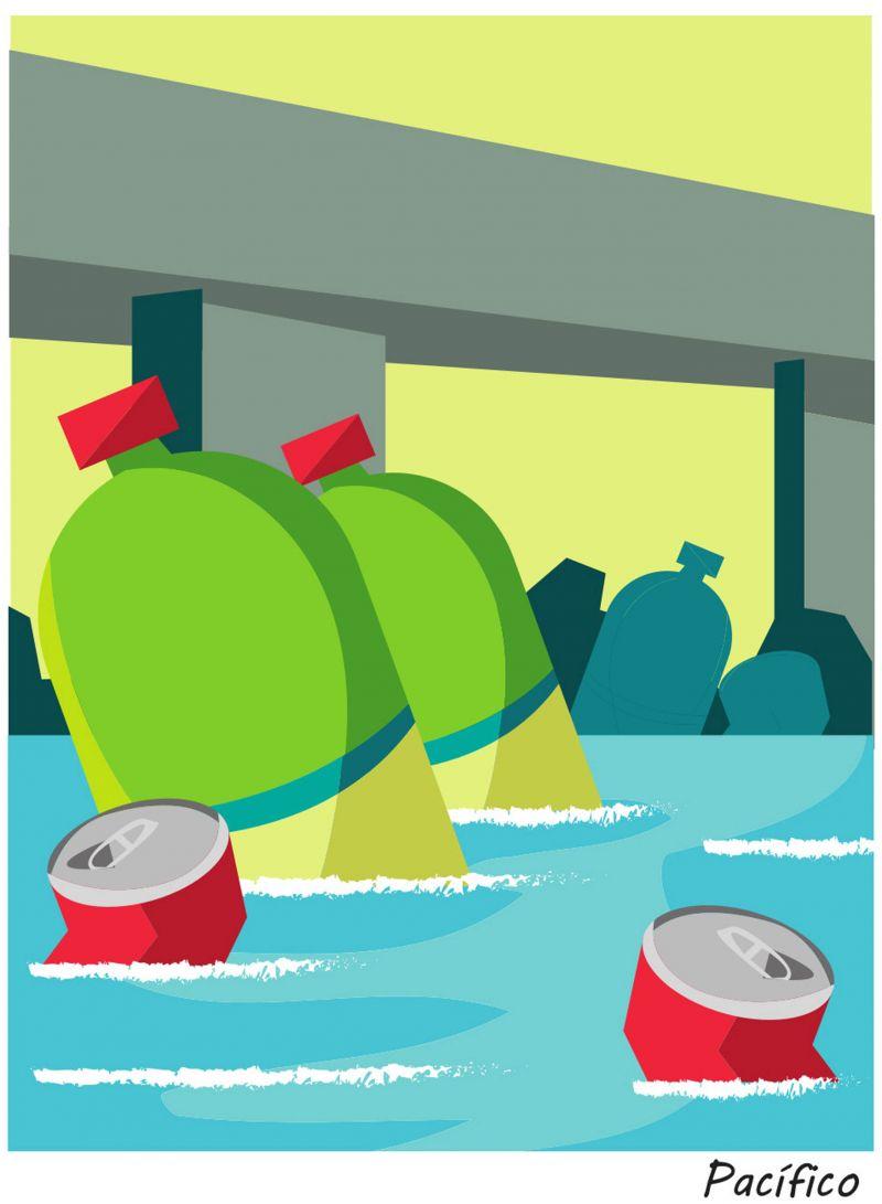 Garrafas PET, latas e sacos lixo boiam na água. Ilustração: Lucas Pacífico/D.A Press.