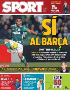 Capa do diário catalão Sport desta quinta-feira