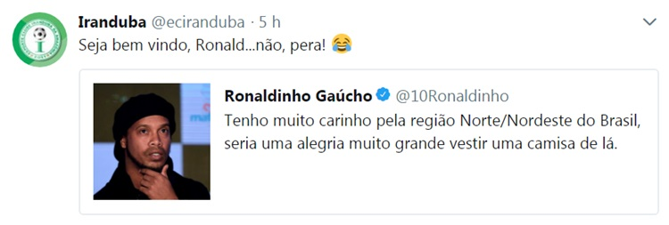 Ronaldinho Gaúcho esboça retorno no twitter