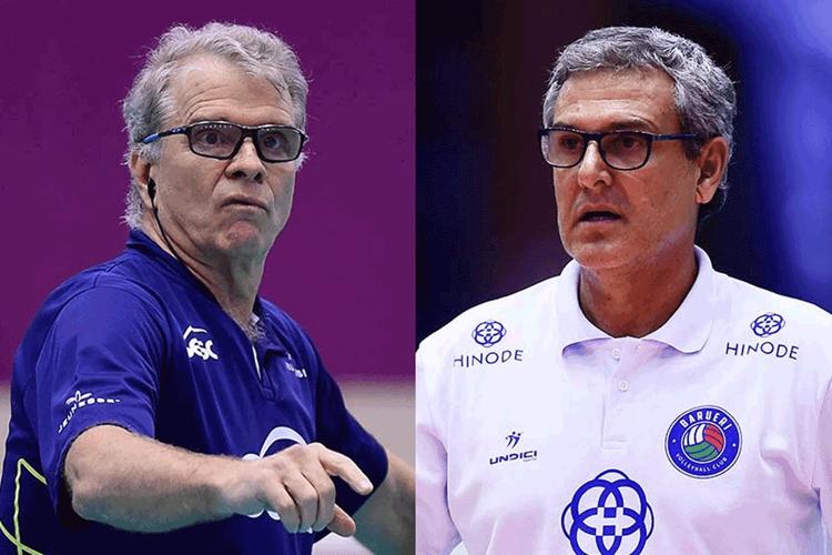 Bernardinho, técnico do Sesc Rio, e Zé Roberto Guimarães, do Barueri: os dois maiores técnicos foram eliminados nas quartas de final da Superliga feminina 2018/2019