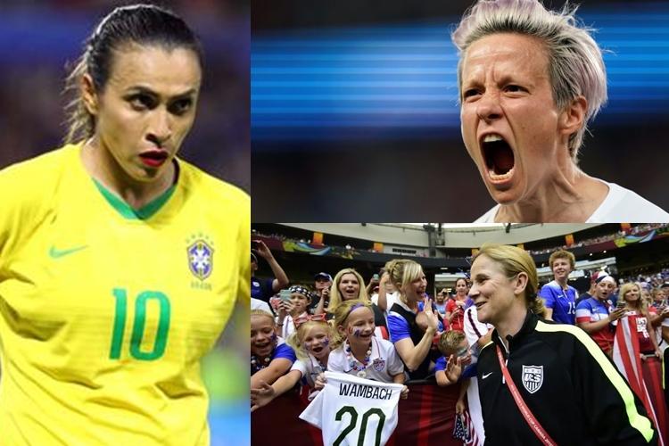 Jogadoras como Marta e Megan Rapinoe e técnicas como Jill Eliis de futebol que protestaram por igualdade de gênero na Copa do Mundo feminina, na França