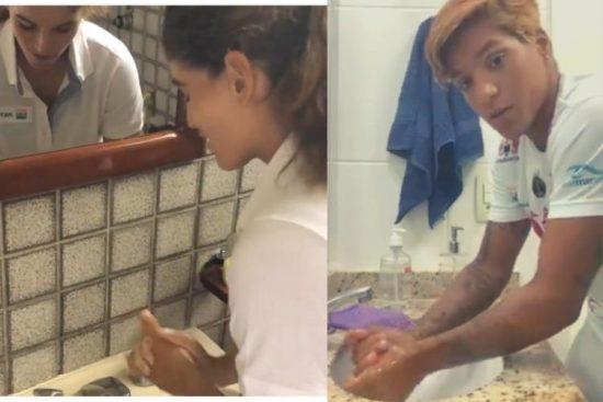 Dia Mundial da Água e Sabão contra o coronavírus: Ana Marcela Cunha, da maratona aquática, e a velejadora Martine Grael aderem à campanha