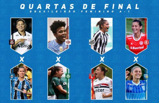 Confrontos das quartas de final do Brasileiro Feminino A1 de 2020 serão disputados nos principais estádios de cada clube
